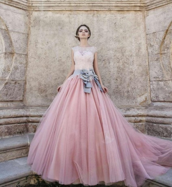 vestido de noiva brautkleid tulle lang puffy farbe vintage rosa hochzeitskleid spitze ballkleid. Black Bedroom Furniture Sets. Home Design Ideas
