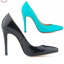 Spring New 2016 Office Ladies Black Red Pumps Pointed Toe Classic Solid Color Women'S High Heels Shoes SMYNLK-10021B