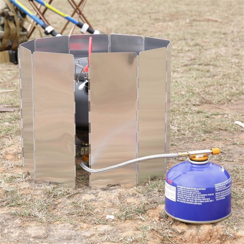Foldable 10 Plates Aluminum Alloy Cooker BBQ Gas Stove Wind Shield Screen Picnic Camping Picnic Cooker Stove Wind Screen