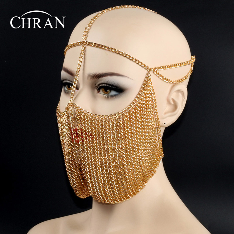 CHRAN Unique Design Gold Color Metal Chain Costume Body Jewelry Head Chain Wholesale Charm Hair Accessories for Women chic layered decussation design body chain for women