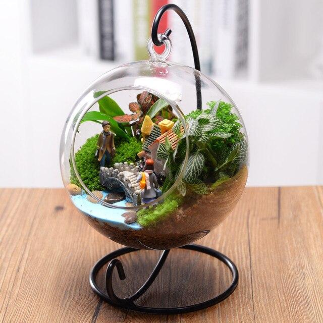 Clear Round Glass Vase Hanging Terrarium Hydroponic Container Decor