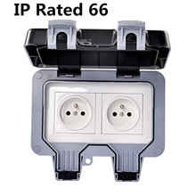 IP66 French Standard Weatherproof Waterproof Outdoor Wall Power Socket 16A Double EU ElectricaEUl Outlet Grounded AC 250~