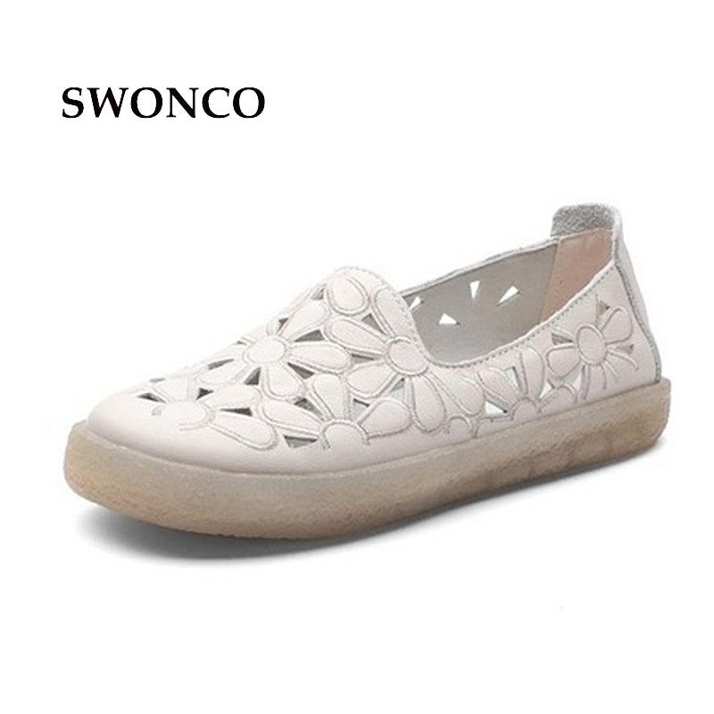SWONCO Women's Flats Shoe Genuine Leather Fashion Hollow Out Ladies Shoes Casual Loafers Women Shoes Leather Handmade Shoes