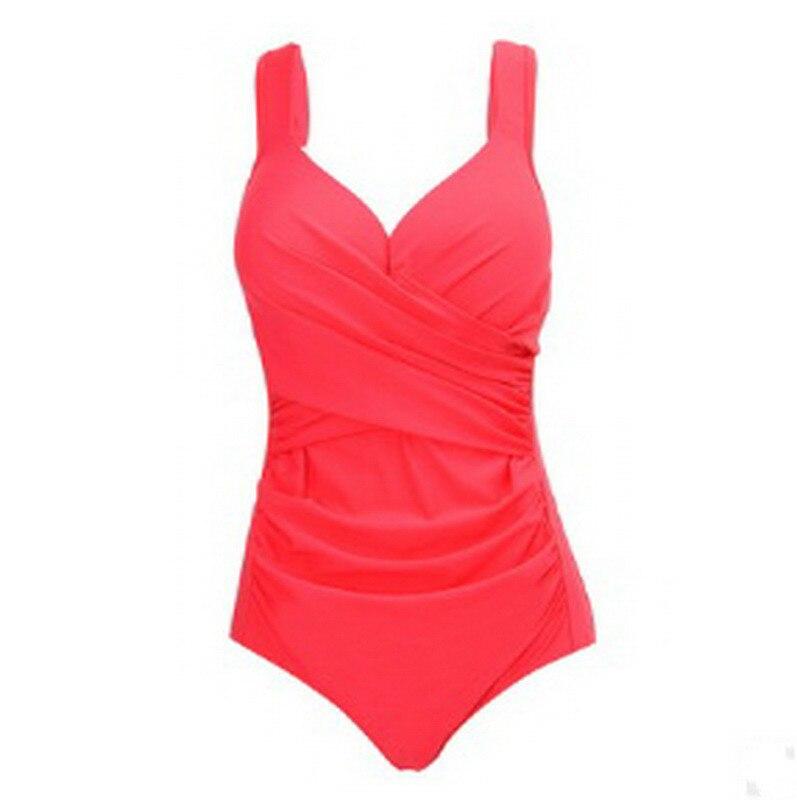 Women Swimwear Plus Size One Piece Swimsuit 2018 Hot Swim Bodysuit Beachwear Retro Vintage Bathing Suit Wear Size 2XL~5XL plus size scalloped backless one piece swimsuit