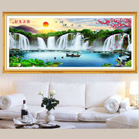 5D Diy Diamond Painting Cross Stitch Water Falls Diamond Embroidery Natural Landscapes Rubik S Cube Full