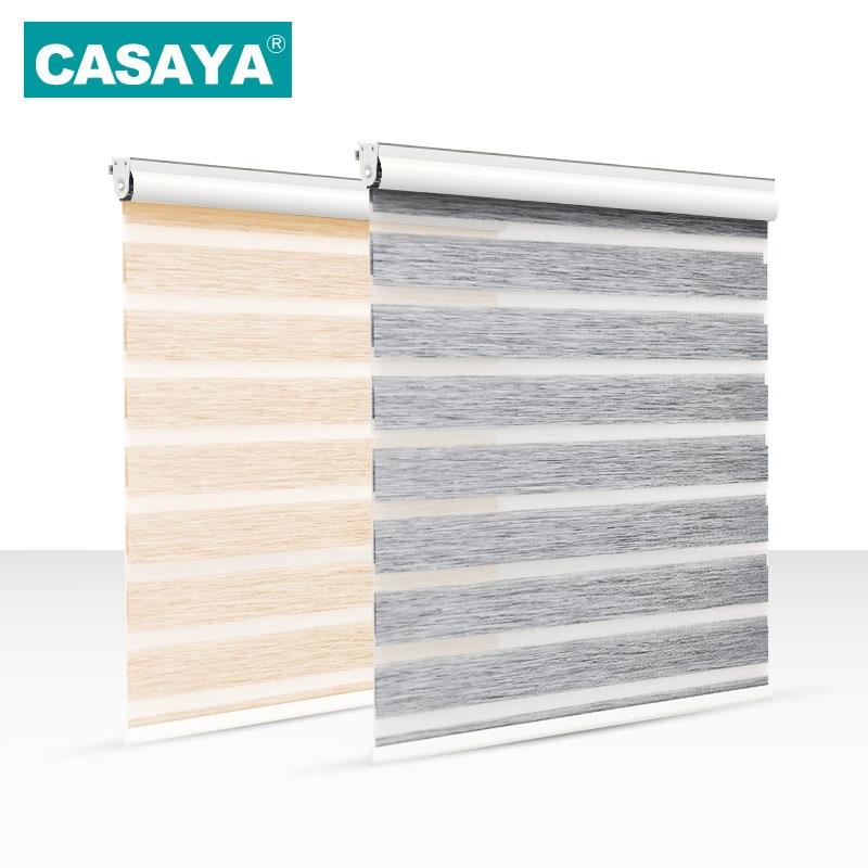 Full Light Shade Roller Blinds Dust Cover Design Thicken Linen Fabric 28mm Aluminum Track Zebra Blinds for Living Room