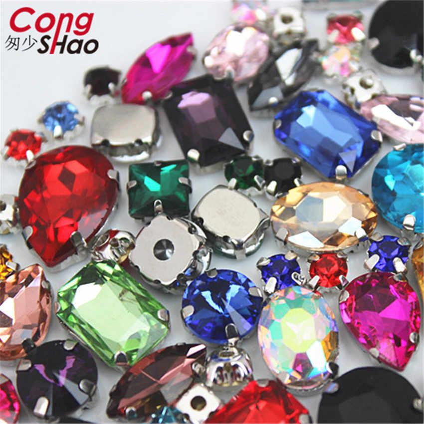 Cong Shao 50 ชิ้น/แพ็ค Glitter คริสตัลเย็บบน Rhinestone Claw DIY สีสันชุดหินผสมรูปร่างแก้วสำหรับเสื้อผ้า CS1000