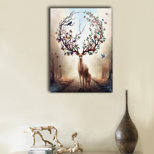 Frameless Art Flower deer Picture Canvas Painting Oil Painting Print Naturally Home Decor Art Wall For & Frameless Art Flower deer Picture Canvas Painting Oil Painting Print ...