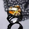 Горячий Стиль! большой Шампанского Crystal Грановитая Черный и золотой покрытием Леди Ювелирные изделия Великолепная Уникальный Дизайн-коктейль кольца