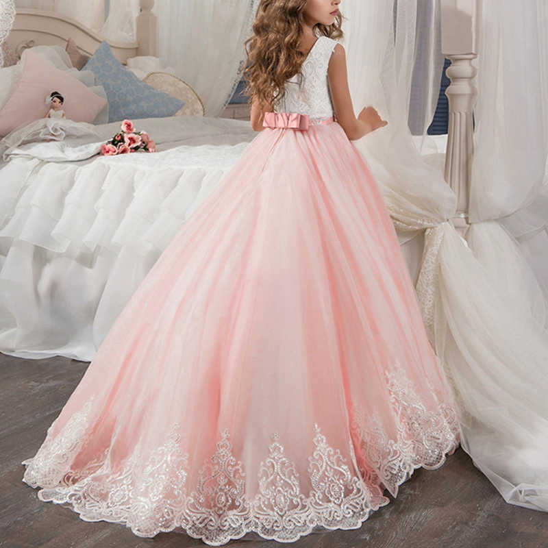 Элегантные Свадебные нарядные платья для детей, платье с блестками без рукавов, со шлейфом платье принцессы с длинными рукавами для девочек, платье для первого причастия, вечернее платье
