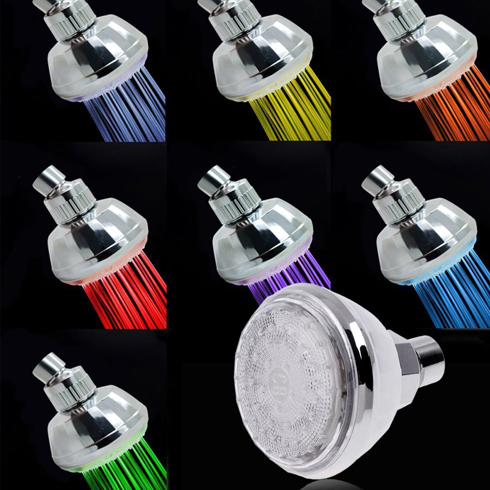 LED colorful temperature control luminous top spray color shade bath sprinkler bathing shower head faucet bathroom accessories