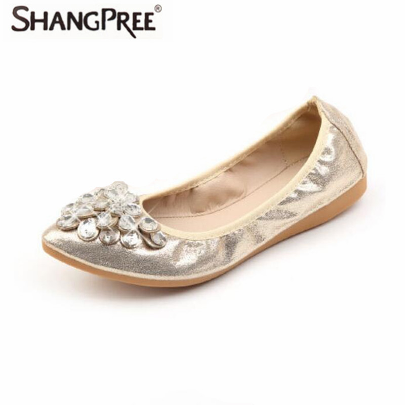 Women Flats shoes Slip-On Ballet Toe Shoes Large size Female casual shoes's bright Crystal Black Gold Silver Pointed large size 34 47 women s fashion shoes woman flats spring shoes female ballet shoes metal pointed toe solid casual shoes x2