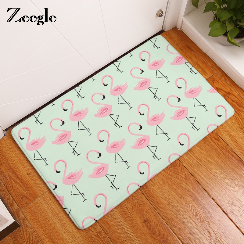 Zeegle Flamingo Pattern Mats For The Hallway Absorbent Bathroom Mat Home Decor Bedroom Bedside Floor Mats Anti-slip Kitchen Rug