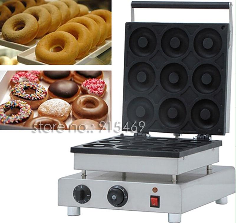Free Shipping 9pcs 110v 220v Electric Commercial 9cm Donut Doughnut Machine Maker Iron Baker 110v 220v automatic donut making machines with 3 mold free shipping