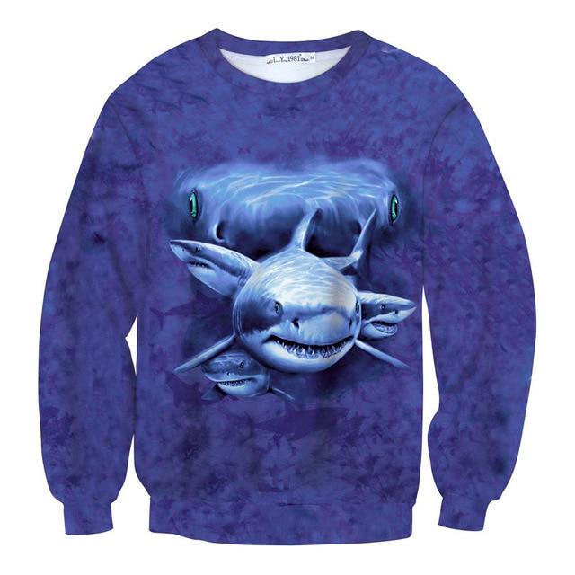 21a30d984182 Newest Tie Dye Shark 3D Novelty Sweatshirts Horrible Animal Men Women Long  Sleeve Pullovers Blue Funny Sweat Tops Tide Clothes