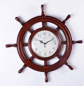 European Large Size 30 5 Inches Rudder Brown Wood Wall Clock Mute Upscale Luxury Living Room Bedroom