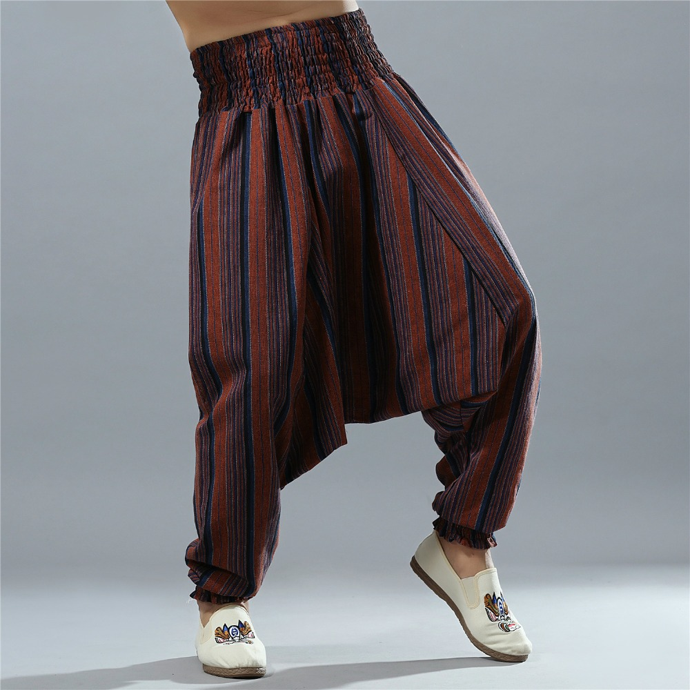 Men Striped Elastic Waist Bloomers Autumn Fluid Big Crotch Pants Male Traditional Loose Cotton Linen Harem Pants Indian 092303