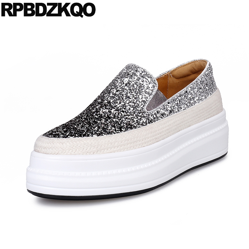 fashion elevator size 34 platform women creepers flats muffin silver thick sole glitter autumn spring bling sequins single shoes