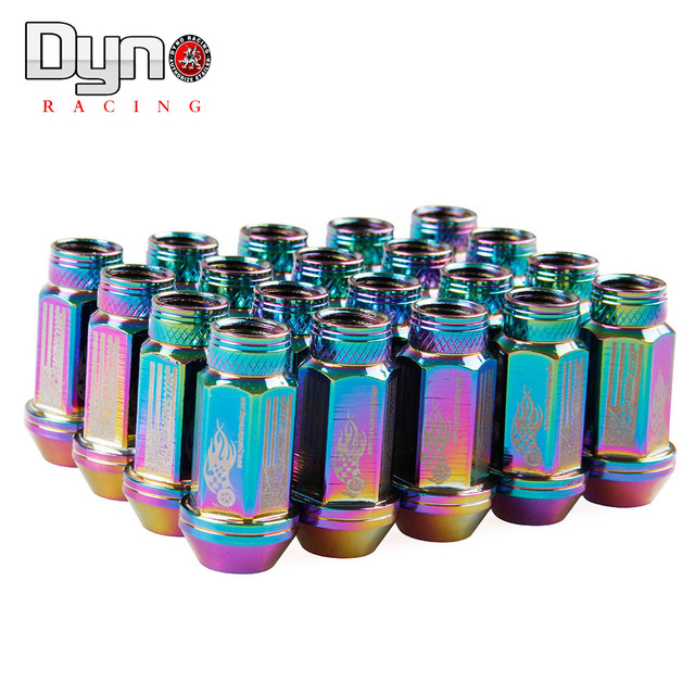 DYNO STORE Free Shipping -RYANSTAR 52MM Neo Chrome aluminum wheel lug nuts +Stickers P12x1.25