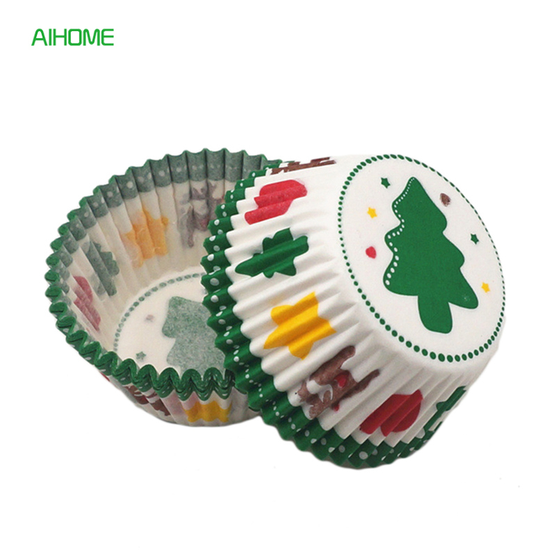 Christmas Tree Muffins: 100pcs/lot Christmas Tree Elk Print Muffin Cake Cups Wraps