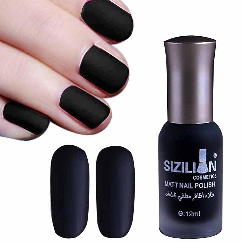 1 Bottle 12ml Black Matte Dull Fast dry Nail Polish Manicure Nail ...
