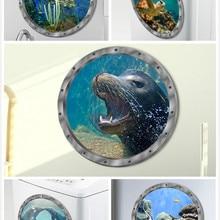 5 стилей подводная рыбка Наклейка на стену s Водонепроницаемая Дельфин наклейка в виде черепахи для стиральной машины украшение для ванной комнаты наклейки ПВХ