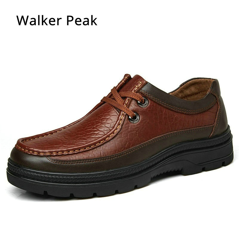 Big Size 38-49 Men's Casual Shoes 100% Genuine Leather Winter Shoes High Quality Business Footwear Nonslip Work Shoes Rubber
