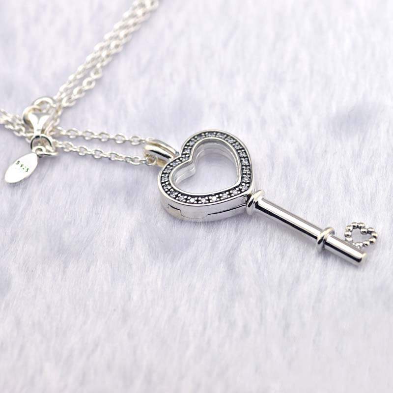 2018 Valentine's Day Necklace 925 Sterling Silver Floating Locket Heart Key Necklace & Pendant Fits DIY Necklace For Women Gift