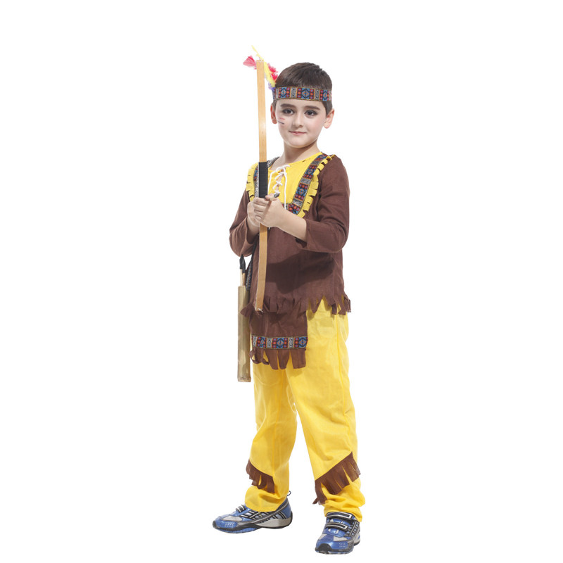 Kids Child Indian Prince Native Hunter Archer Cosplay Costume for Boys Halloween New Year Carnival Mardi Gras Party Outfit 2
