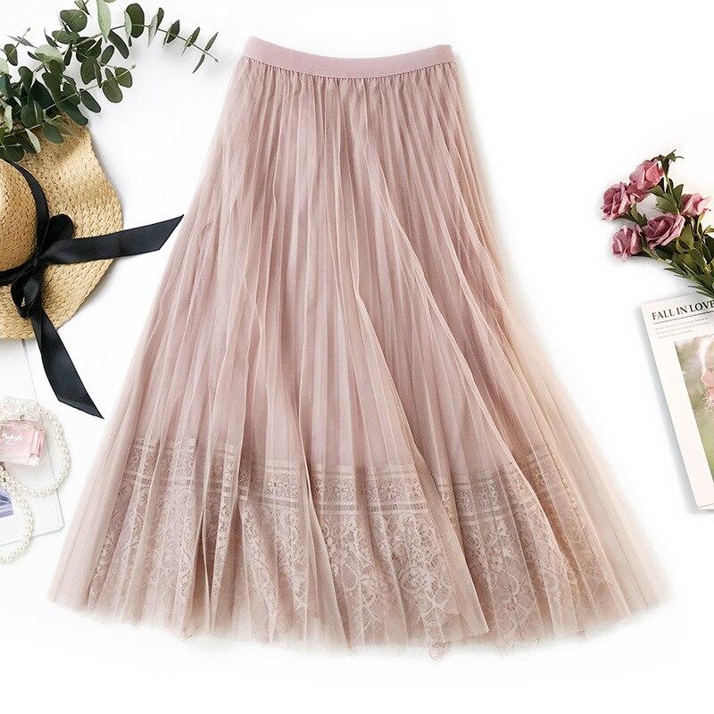 928d6e473 Falda de tul elegante para Mujer faldas tutú nueva Falda plisada de encaje  de cintura alta para ...