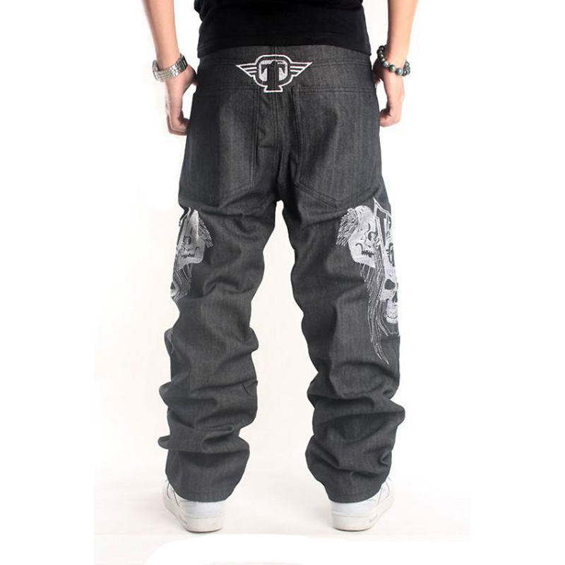 Original Color Tide Mens Skull Head Pattern Hip-Hop Baggy Jeans 2017 New Street Clothing Loose Straight Trousers