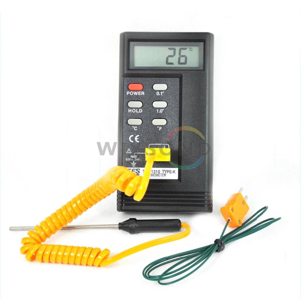 T001 TES1310 Digital Thermometer Temperature Reader Meter Sensor 2 k-type probe FREE SHIPPING  цены