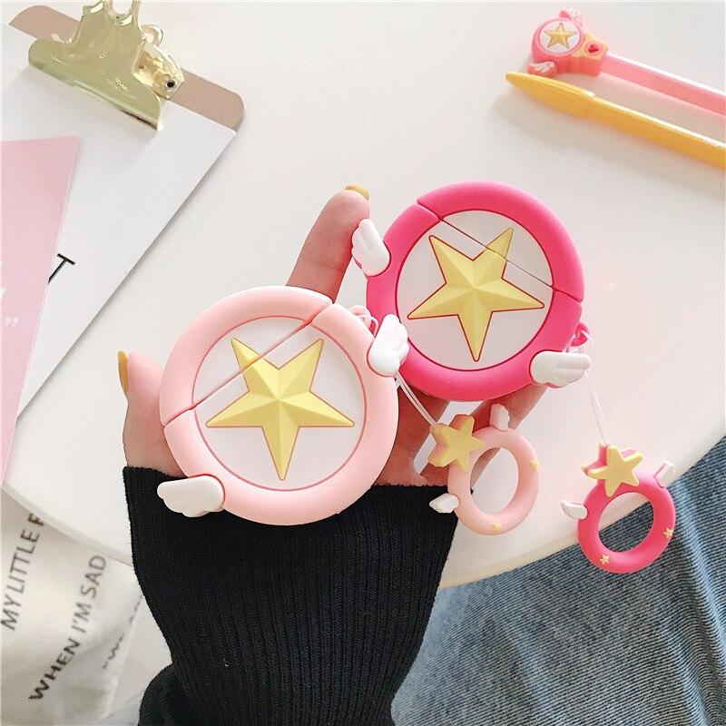 Korea Cartoon Cardcaptor Sakura 3D Cute Star Protective Cover For Apple Airpods 1/2 Wireless Earphone Case Soft Silicone