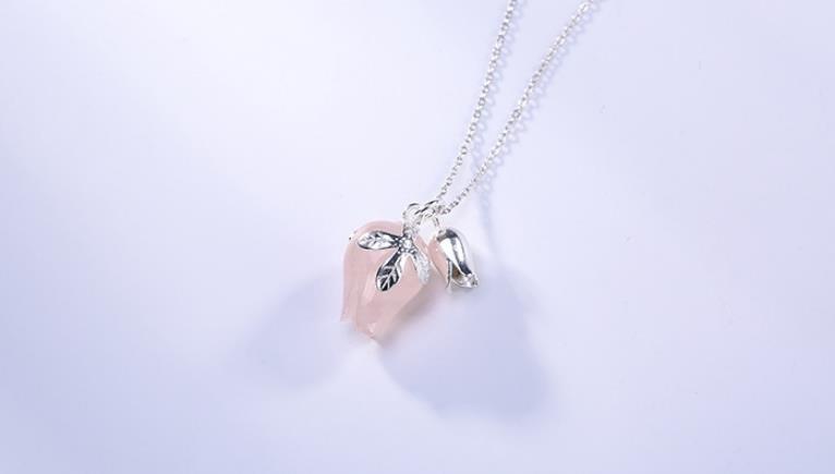 Sterling S925 925 Collier en argent Quartz orchidée Sweety Pendentif chaîne de chandail
