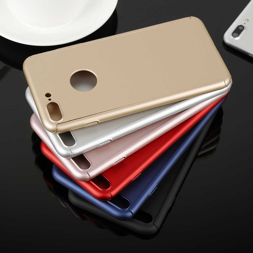 1 Pc 6 Colors 360 Full Protective Phone Case For iPhone 6 6Plus 7 7Plus 8 8Plus Simple Color  Full Cover Cases With Glass