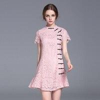 Nueva Manera de Las Mujeres Vestido de Encaje Vestido de Estilo Chino Cheongsam Mejorado Delgado Fit Señoras Dulces Ropa ssd023