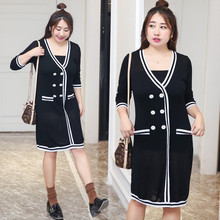 Autumn new long knit dress xl-xxxxl plus size women