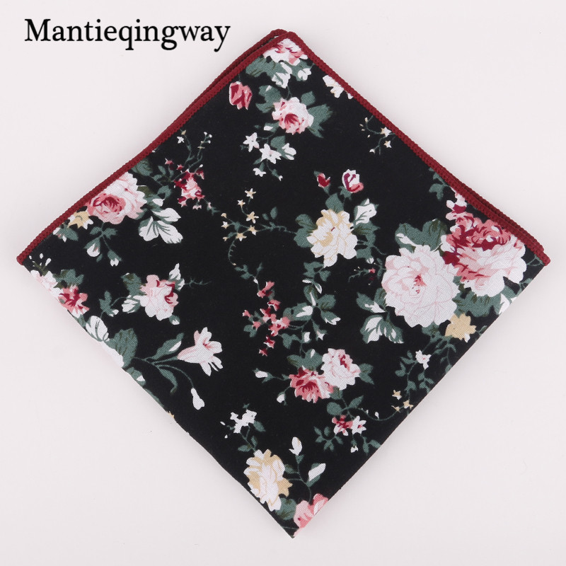 New Arrival Cotton Floral Printed Handkerchiefs Pocket Mens Formal Business Wedding Pocket Square Women Hankies