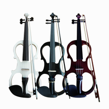 Full Size 4/4 Violin Fiddle Wood Electric Silent Style-3 Ebony Fingerboard Pegs Chin Rest Tailpiece