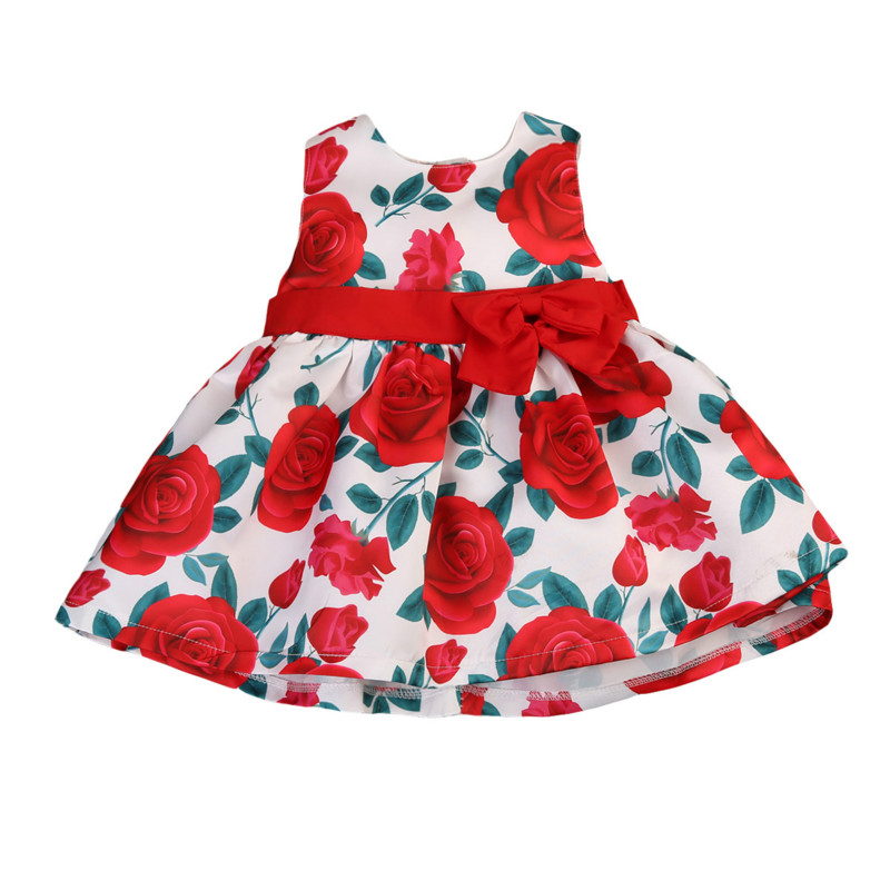 Flower Toddler Baby Girl Bowknot Princess Mini Dress Vestidos Kids Formal Party Wedding Bridesmaid Pageant Dresses Sundress 1-6Y