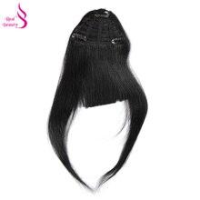 Настоящая красота прямые человеческие волосы заколки китайские волосы remy расширение челки 20 грамм натуральный черный натуральный бахрома