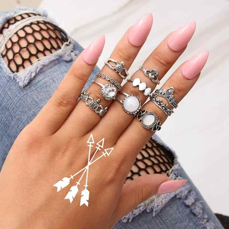 Hot Bohemian White opal totem Silver Turtle Rings Set Boho Vintage Knuckle Ring For Women Punk Fashion Gift Jewelry 10PCS/Set