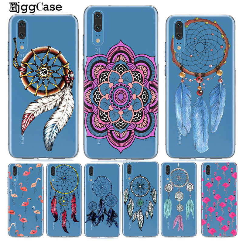 Dream Catcher Drawings feather flamingos Case for Huawei P20 P10 Mate 10 20 Lite Honor 10 9 Lite 8X 8C Y9 2019 Silicon Cases