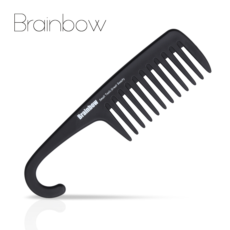 Brainbow 1pc Plastic Hair Brush Wide Tooth Comb with Hanger Anti-Static Large Wide Comb for Straight Wavy Hair Care Styling Tool