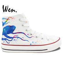 Wen Design Custom Hand Painted Shoes Blue Octopus Men Women's High Top White Canvas Sneakers for Boys Girls