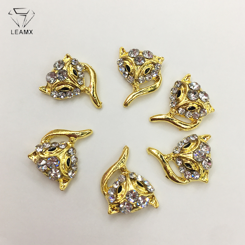 LEAMX 10 PCS/bag Cute Fox Nails Art Decorations 3D Head Metal Rhinestone Animal Charms Nail Jewelry Glliter Decor L435