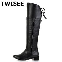 Twisee Winter Crystal Low Heels Boots Women Pu Length Boots Russion Warm Round Toe Shoes TPR