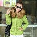 2016 Novo Inverno projeto short Slim amassado das mulheres das mulheres para baixo algodão-acolchoado amassado jaqueta grande gola de pele alta Qualidade