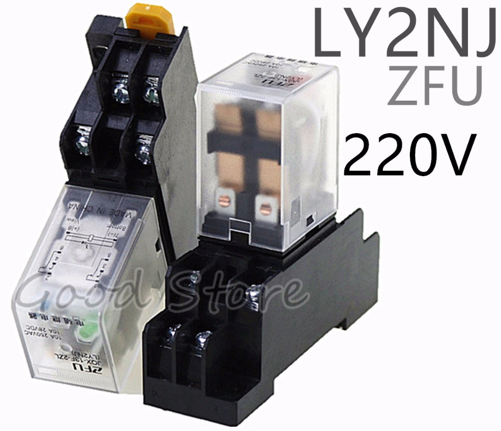10A AC220V Coil Power Relay LY2NJ HH62P 8 Pins 2 Open 2 Close With Socket UULK