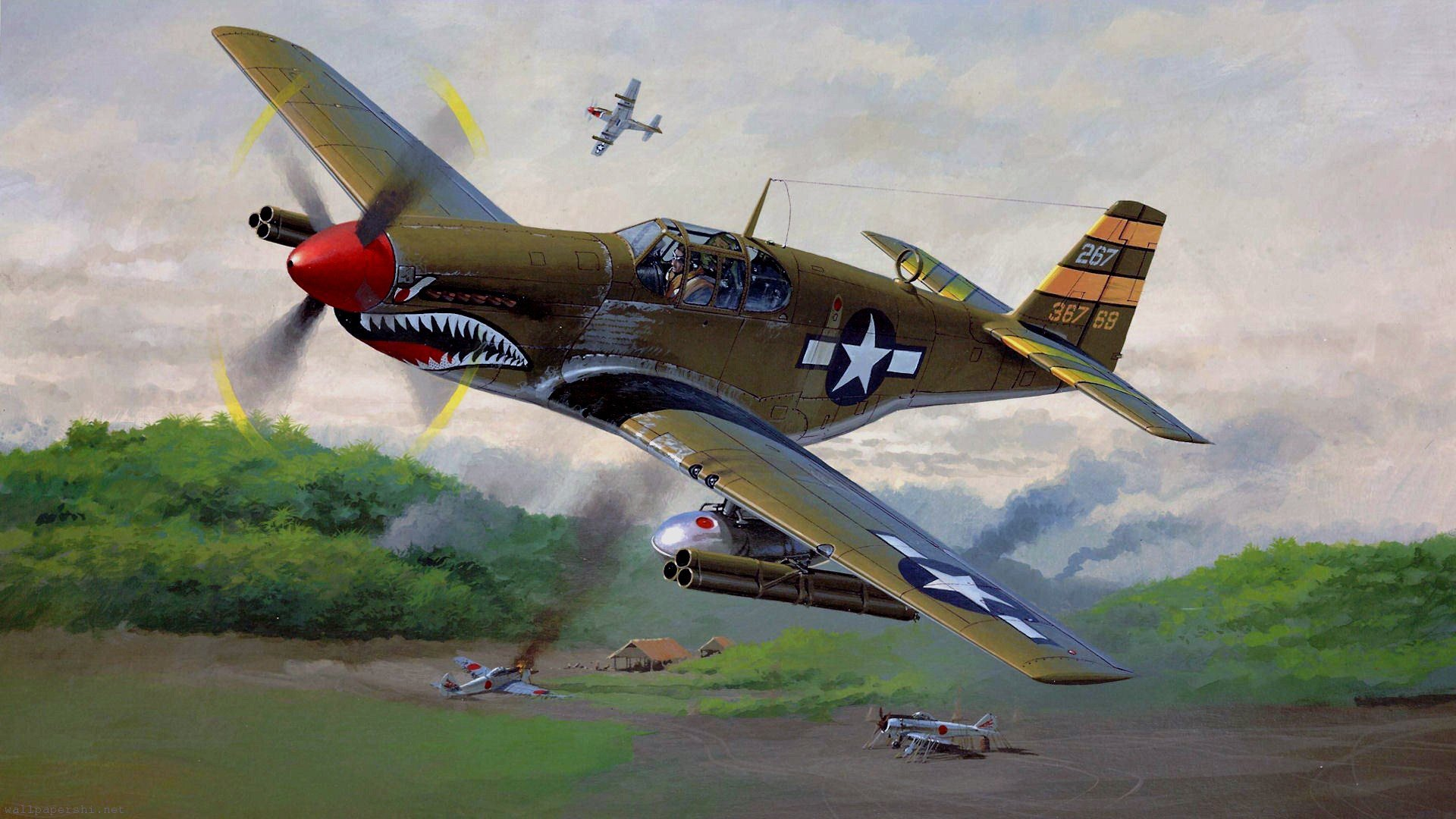 Airplanes Japanese Widescreen P 51 Mustang Nicholas